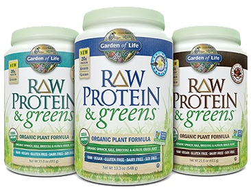Garden of Life Raw Protein and Greens  RAW Protein & greens—in a variety of available flavors, including Real RAW Vanilla, Chocolate Cacao, and Lightly Sweet. Offering 20 grams of smooth, raw organic plant protein per serving from organic sprouted brown rice, organic peas, organic chia, organic navy beans, organic lentil beans and organic garbanzo beans and 6 organic greens and veggies—organic alfalfa grass juice, organic spinach, organic kale, and organic broccoli, carrots and beets—1.5 billion CFU probiotics, 13 non-GMO enzymes, 3 grams of organic fiber and less than 1 gram of naturally occurring sugar, RAW Protein & greens is a delish way to get your protein and greens in one serving. And it's CLEAN, TRACEABLE and PURE.
