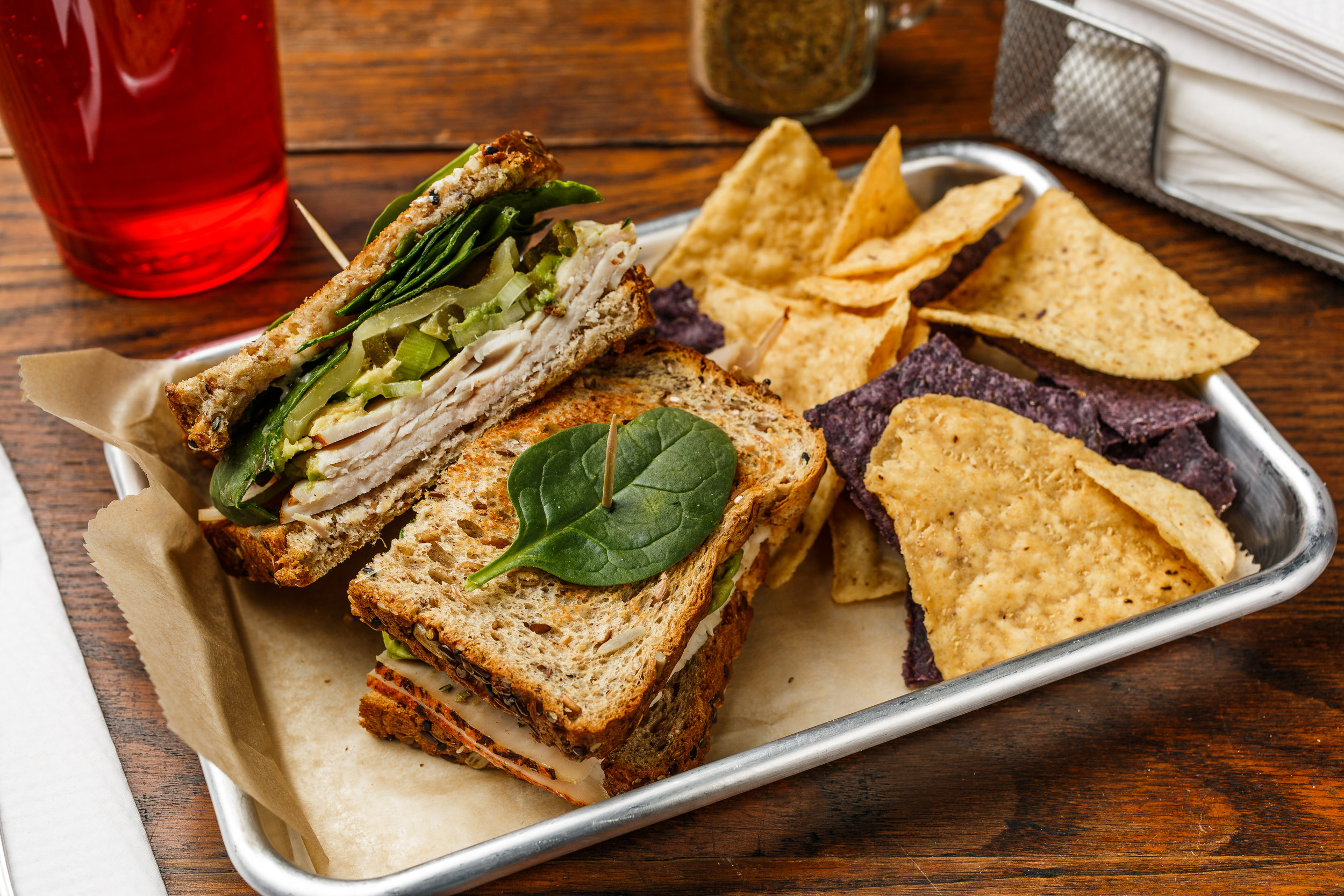 Bruces' Best  Boar's head turkey, jalapeño, avocado, green onions, Monterey Jack cheese, spinach, mayo, and spike seasoning. Made as a wrap, sandwich, or salad. Served with organic tortilla chips  $7.99