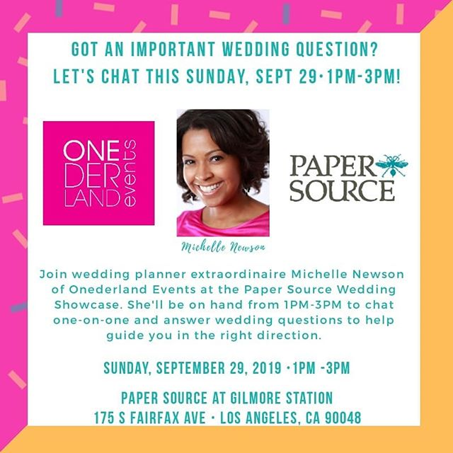 Hey y'all!  Super excited to hang with the good folks at @papersource_3rdandfairfax #Wedding Showcase this Sunday, 9/29 from 1-3pm! I'll be there to answer any wedding planning questions while you check out the incredible selection of wedding  invitations Paper Source has to offer. Come on down to 3rd and Fairfax (across from The Grove) and let's chat! See you Sunday!  #weddings #love #invitations #weddingplanner #michellecelebrates