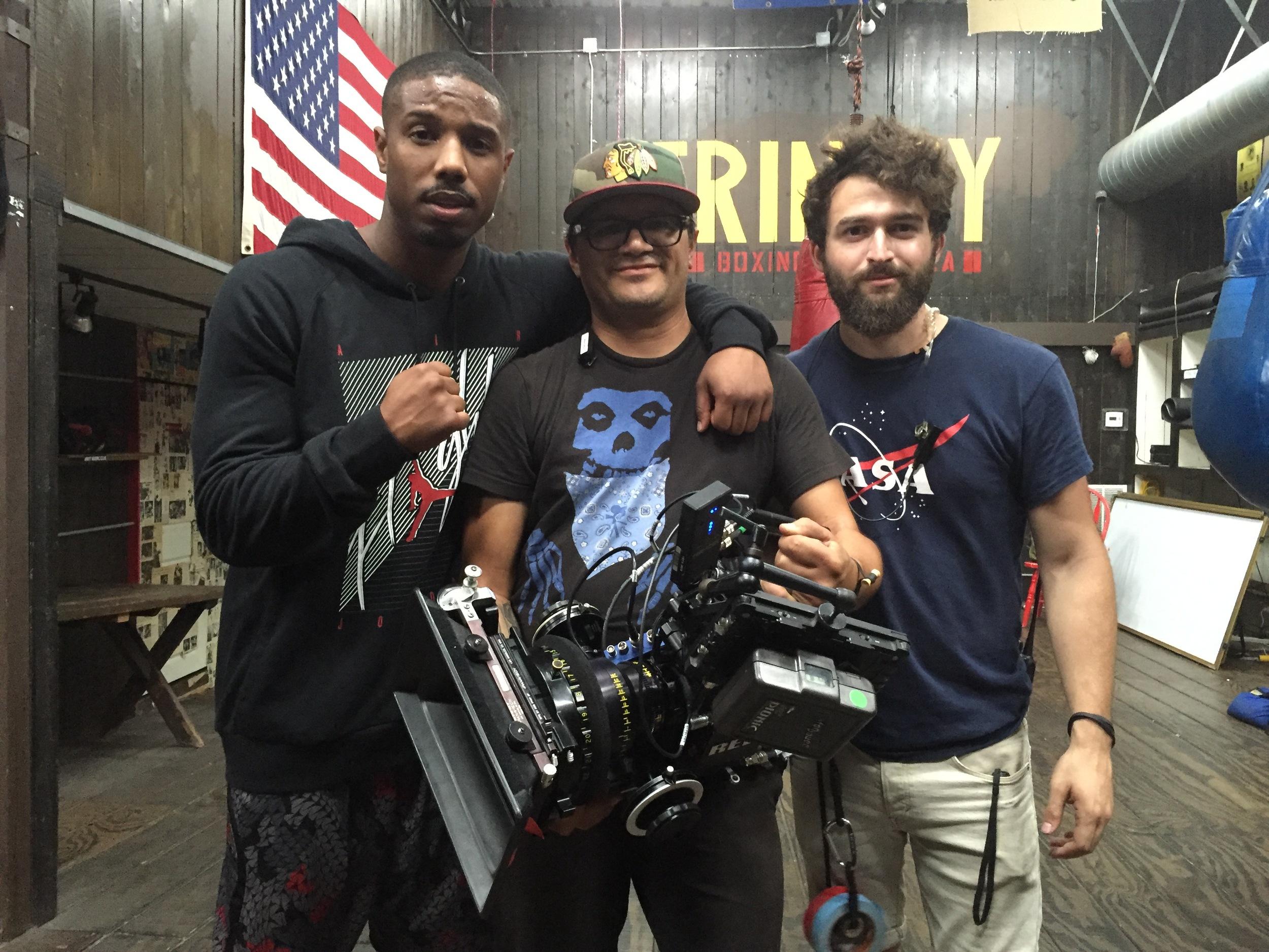 Rene Vargas (center), Camera Operator,on set with Michael B. Jordan.