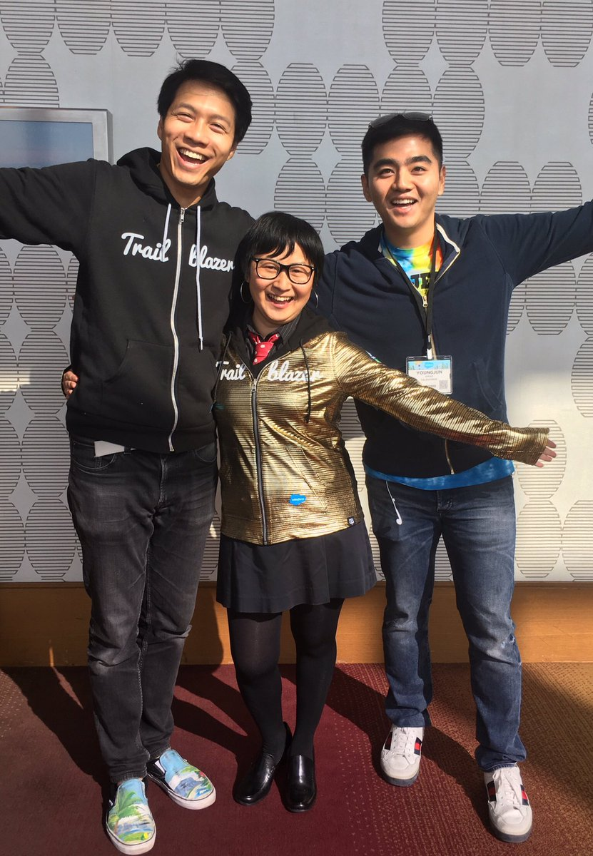 Enjoying my new Golden Hoodie after the Salesforce World Tour L.A. keynote with Alan (left) & Youngjun from Salesforce!