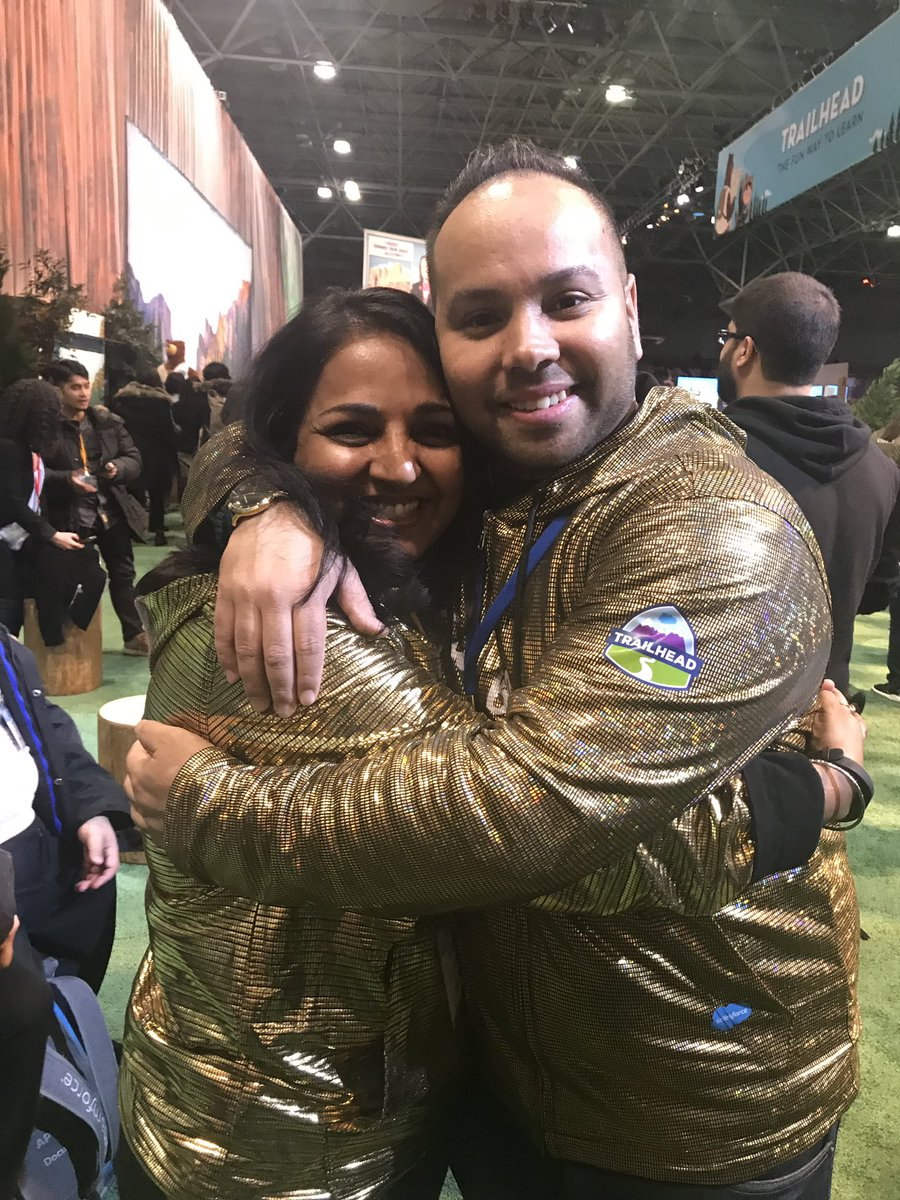 Golden Hoodie snuggle with Shakil Kamran and my dear friend,    Bhavana Singh    — the first developer Golden Hoodie recipient! — at Salesforce World Tour NYC.