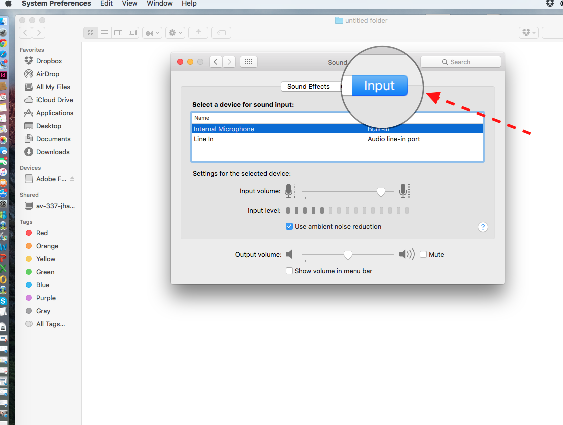 3. Once the Sound Preferences are open click on the Input tab