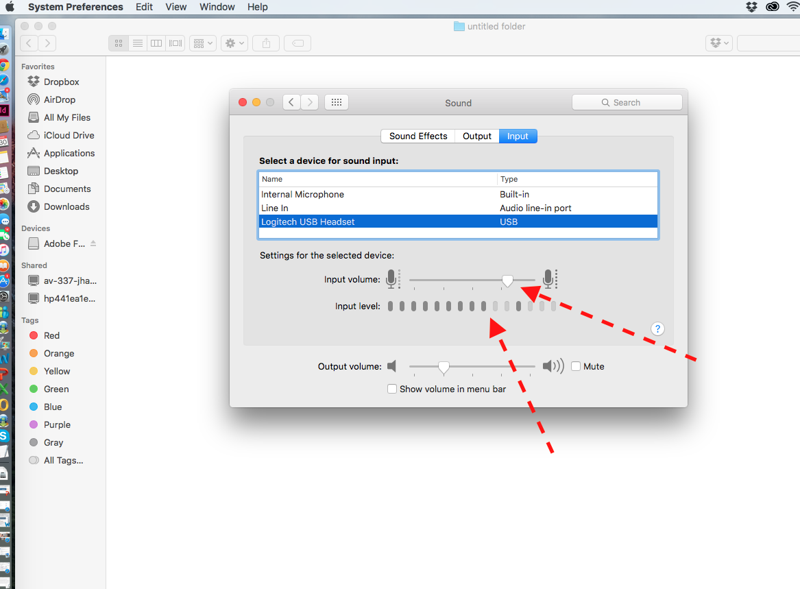 5. Adjust the Input volume slider until the input level graph shows movement during normal speaking with the microphone at an appropriate distance from the speaker.  The microphone gain should now be set properly to allow students to record their speaking responses. Close System Preferences when done making changes.