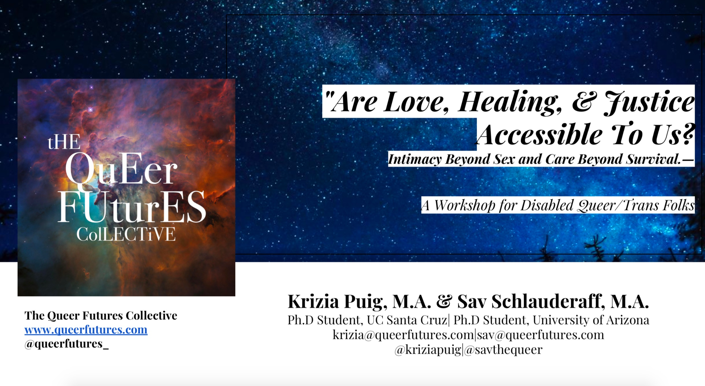 Are Love, healing & justice accessible to us?  - Click here for a PDF of the slide show!