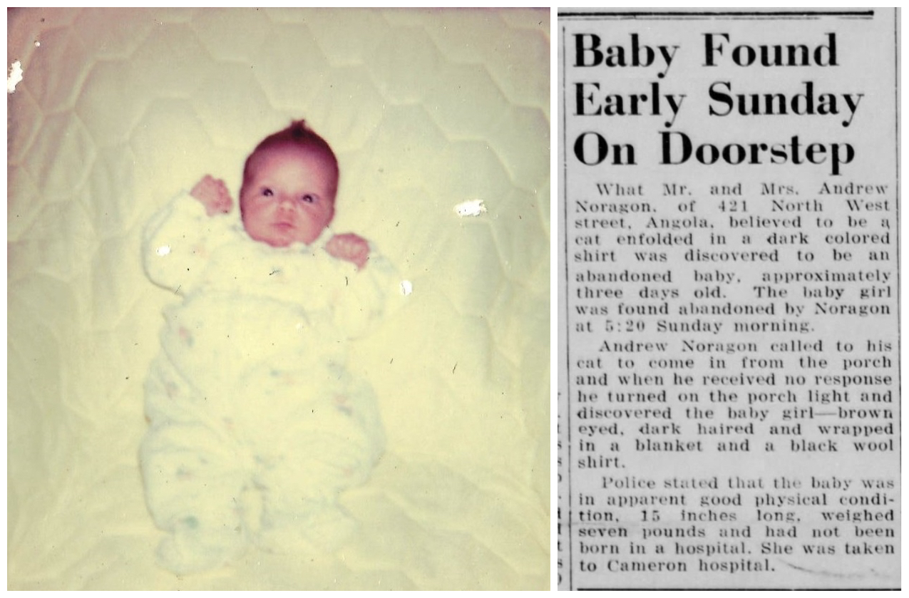 "Beth at 3 weeks old and the front page newspaper article announcing her ""foundling"" beginnings. Courtesy of Beth Steury."