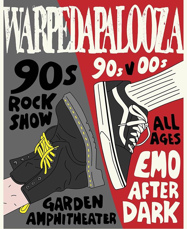 TICKETS ARE NOW HALF OFF! @ warpedapalooza.com 90s vs 00s is a double concert event. If you loved making mixed tapes in the 90s and/or rocked out playlists on your iPod, this is the event you don't want to miss!  @emoafterdark is teaming up with @90srockshow for a night of the most rememberable rock songs! Hosted by @markodesantis from SUGARCULT. This is an ALL AGES event! Treat yourself and your friends to a concert experience of both worlds. 1990s all the way through to the mid 2000s. This night will keep you singing your hearts out all night long. Join us for an event you've all been waiting for. Hear songs from your favorite bands Green Day, Soundgarden, Nirvana, Fall Out Boy, My Chemical Romance, No Doubt, Pearl Jam, Paramore, Jimmy Eat World, The Killers, Blink 182, Alice In Chains and much much more! June 23rd 6pm @gardenamphitheatre  Gourmet Food Trucks and FULL BAR for 21+ This is all happening at the @gardenamphitheatre June 23rd 6pm  #warpedapalooza #emoafterdark #90srockshow #90svs2000s #90svs00s #gardenamphitheater #emonight #emo #poppunk #00s #90sband #90srockmusic #90srockshow