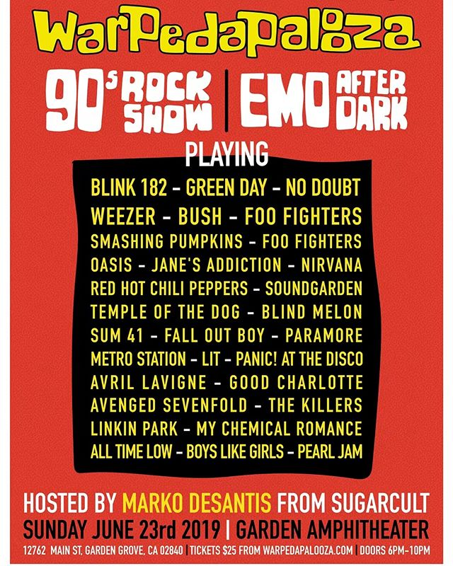 TICKETS ARE NOW $15 @ warpedapalooza.com 90s vs 00s is a double concert event. If you loved making mixed tapes in the 90s and/or rocked out playlists on your iPod, this is the event you don't want to miss!  @emoafterdark is teaming up with @90srockshow for a night of the most rememberable rock songs! Hosted by @markodesantis from SUGARCULT. This is an ALL AGES event! Treat yourself and your friends to a concert experience of both worlds. 1990s all the way through to the mid 2000s. This night will keep you singing your hearts out all night long. Join us for an event you've all been waiting for. Hear songs from your favorite bands Green Day, Soundgarden, Nirvana, Fall Out Boy, My Chemical Romance, No Doubt, Pearl Jam, Paramore, Jimmy Eat World, The Killers, Blink 182, Alice In Chains and much much more! June 23rd 6pm @gardenamphitheatre  Gourmet Food Trucks and FULL BAR for 21+ This is all happening at the @gardenamphitheatre June 23rd 6pm  #warpedapalooza #emoafterdark #90srockshow #90svs2000s #90svs00s #gardenamphitheater #emonight #emo #poppunk #00s #90sband #90srockmusic #90srockshow