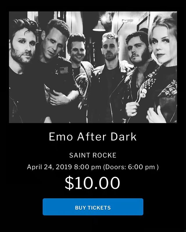 ***EMO AFTER DARK*** SAINT ROCKE HERMOSA BEACH, CA WEDNESDAY, APRIL 24th , Doors 6pm BAND 8:30pm $10 at Door or at saintrocke.com, 21+  Emo After Dark is expanding and touring new locations for our Emo Events in SoCal. Saint Rocke will be one not to miss! Full live band and guest DJs playing all your favorites from: Fall Out Boy, My Chemical Romance, The Used, The Killers, Good Charlotte, Paramore, Panic At The Disco, Blink 182, AFI, Sum 41, Yellowcard, Dashboard Confessional, Boys Like Girls, Taking Back Sunday, Hawthorne Heights, A Day To Remember, Taking Back Sunday,  Saves The Day, New Found Glory, Underoath, Saosin, Thrice, Finch, The All-American Rejects, Mayday Parade, The Starting Line … & more! #emoafterdark #emonight #emonightlongbeach #emo #emoboy #emoscene #emostyle #emobands #emomusic #emolife #emolongbeach  #poppunk #punkpop #poppunkband #poppunkmusic #poppunksnotdead #emocoverband #emoevent #emotributeband