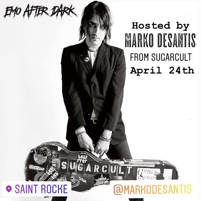***EMO AFTER DARK*** SAINT ROCKE HERMOSA BEACH, CA WEDNESDAY, APRIL 24th , Doors 6pm BAND 8:30pm $10 at Door or at saintrocke.com, 21+ Hosted by @markodesantis  DJ @batbrit @dangerussmusic  Emo After Dark is expanding and touring new locations for our Emo Events in SoCal. Saint Rocke will be one not to miss! Full live band and guest DJs playing all your favorites from: Fall Out Boy, My Chemical Romance, The Used, The Killers, Good Charlotte, Paramore, Panic At The Disco, Blink 182, AFI, Sum 41, Yellowcard, Dashboard Confessional, Boys Like Girls, Taking Back Sunday, Hawthorne Heights, A Day To Remember, Taking Back Sunday,  Saves The Day, New Found Glory, Underoath, Saosin, Thrice, Finch, The All-American Rejects, Mayday Parade, The Starting Line … & more! #emoafterdark #emonight #emonightlongbeach #emo #emoboy #emoscene #emostyle #emobands #emomusic #emolife #emolongbeach  #poppunk #punkpop #poppunkband #poppunkmusic #poppunksnotdead #emocoverband #emoevent #emotributeband
