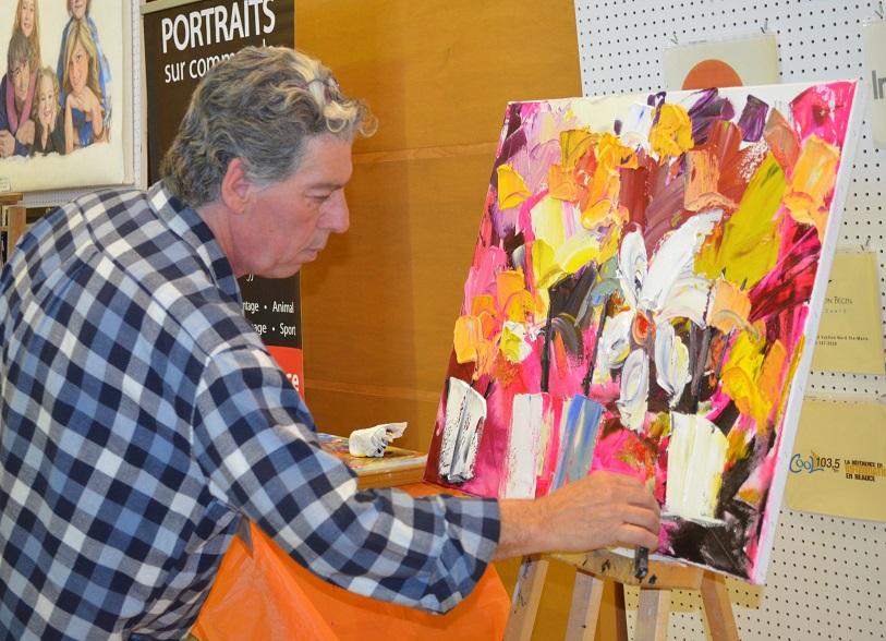 Yves Ayotte - Inspiré par la proéminence picturale, Ayotte délaisse le pinceau en 2001 et opte pour la spatule. En galerie depuis plus de quinze ans, il change de façon surprenante. Ayotte réalise des œuvres flamboyantes de style expressionniste à tendances abstractive. Ayotte exprime l'inconscient; pour lui, l'essentiel réside dans l'automatisme.