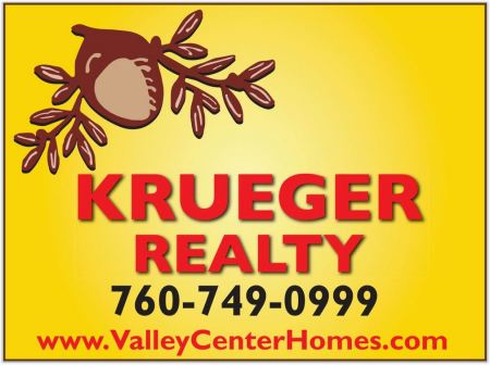 Krueger Realty - Serving Valley Center since 1993, Krueger Realty is a community ranch and home sales office. Whether you're buying or selling, we deliver the ultimate in personal, professional real estate service.28732 Valley Center RoadValley Center, CA 92082(760) 749-0999
