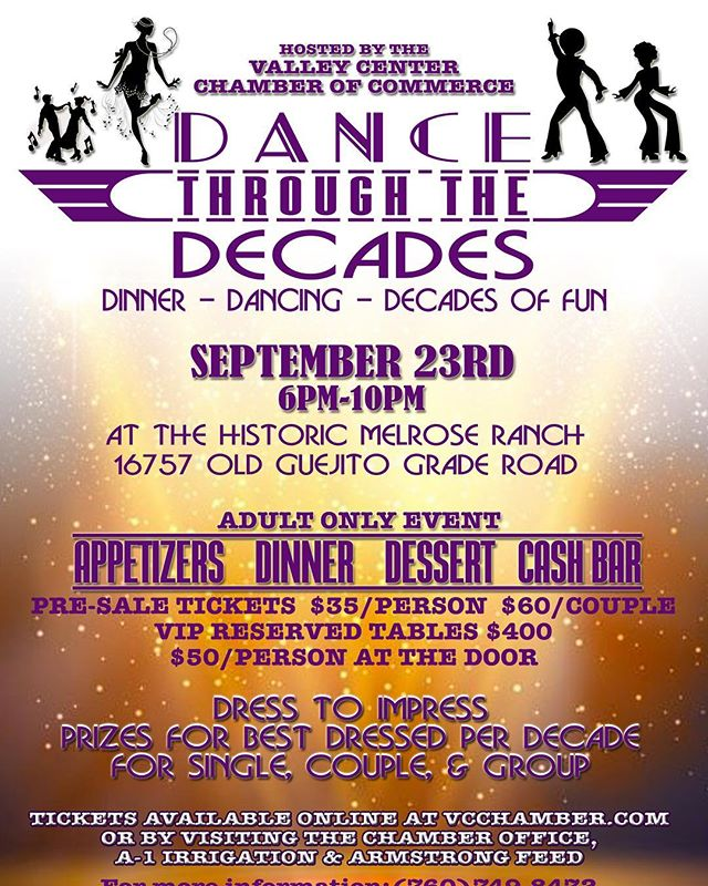 Join us for our Dance Through the Decades Saturday night!  Save $40/couple if you buy tickets by Friday!  Vcchamber.com/events