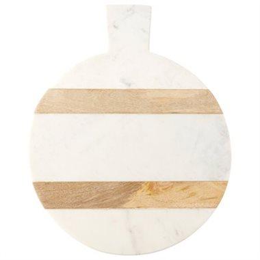 indigo round marble & wood board