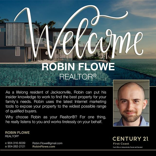 We are excited for Robin Flowe, Realtor to join Century 21 First Coast. He brings an excitement and passion to the brokerage as his relentless dedication to serving his customers is inspiring. Welcome Robin!