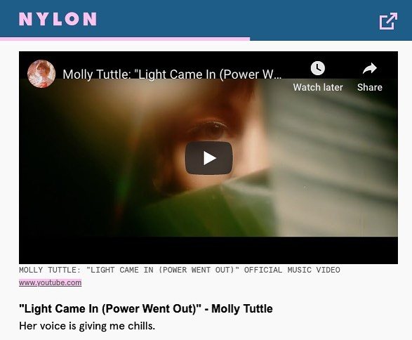 """Proud of this video! Thank you @nylonmag for featuring """"Light Came In (Power Went Out)!"""""""
