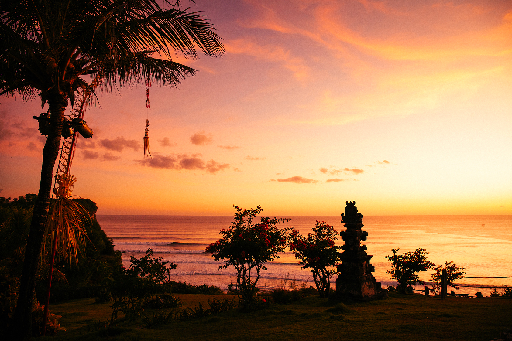 MAGICAL SUNSETS - Bali is just south of the equator, so it's reliably hot & sunny. It's tropical and wet. The largest (and still active) volcano, is considered by Balinese to be the center of the universe.