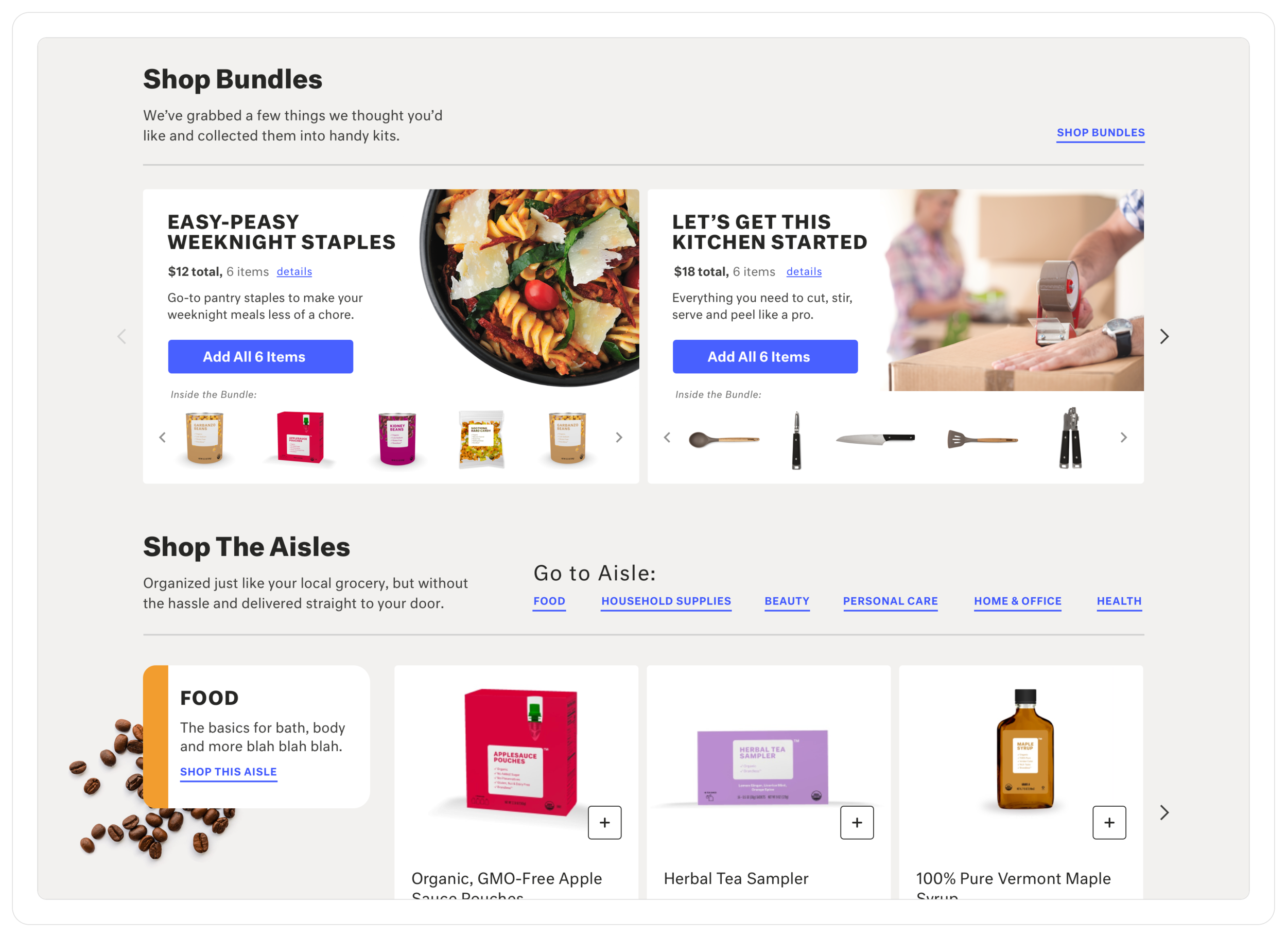 """The """"shop all"""" page acts as a summary view of the different categories of products offered. It also introduces the idea of """"kits"""" that allow the user to add various items at once to their basket."""