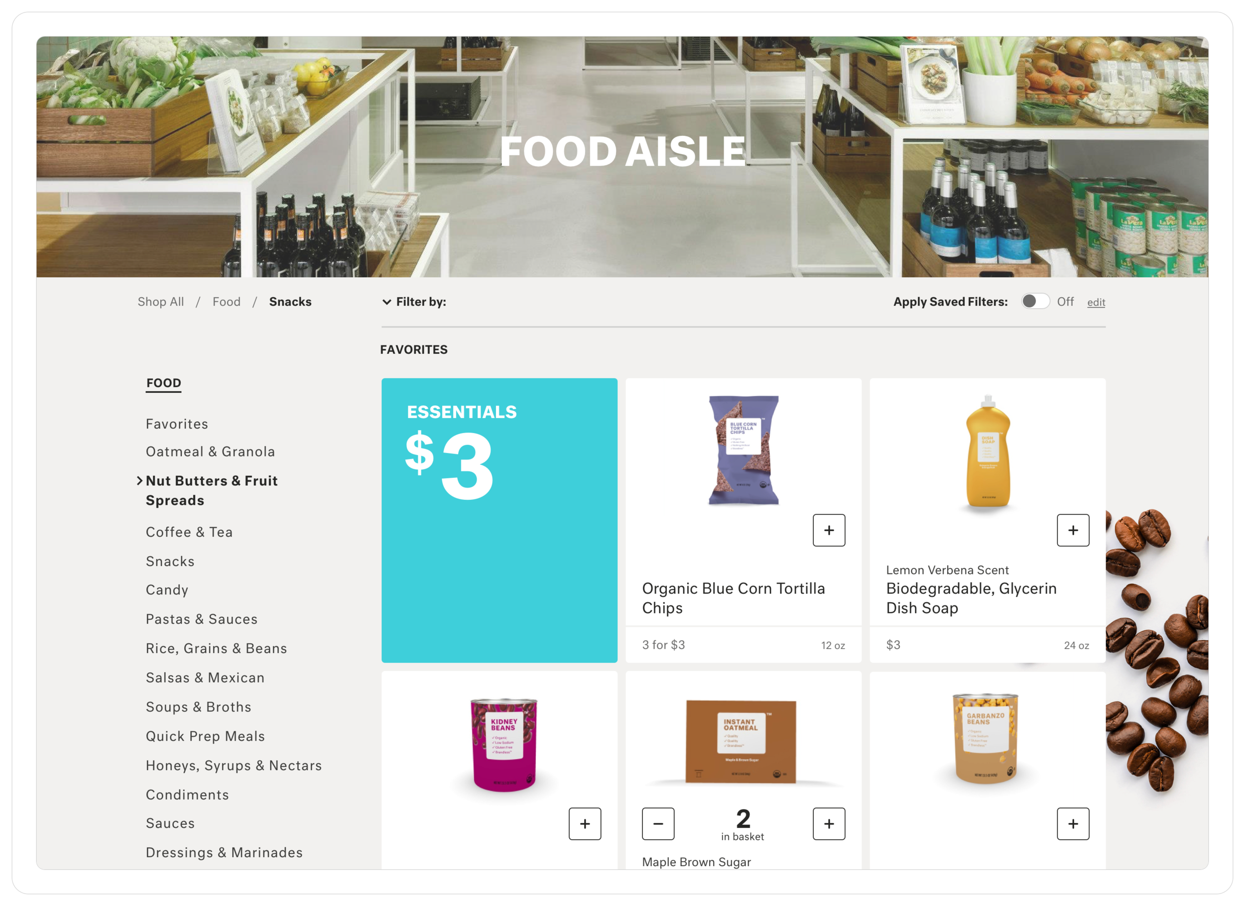"""The category landing page groups products by category to allow users to better brows and filter their results. We referred to them as """"aisles"""" to give a more personable tone."""
