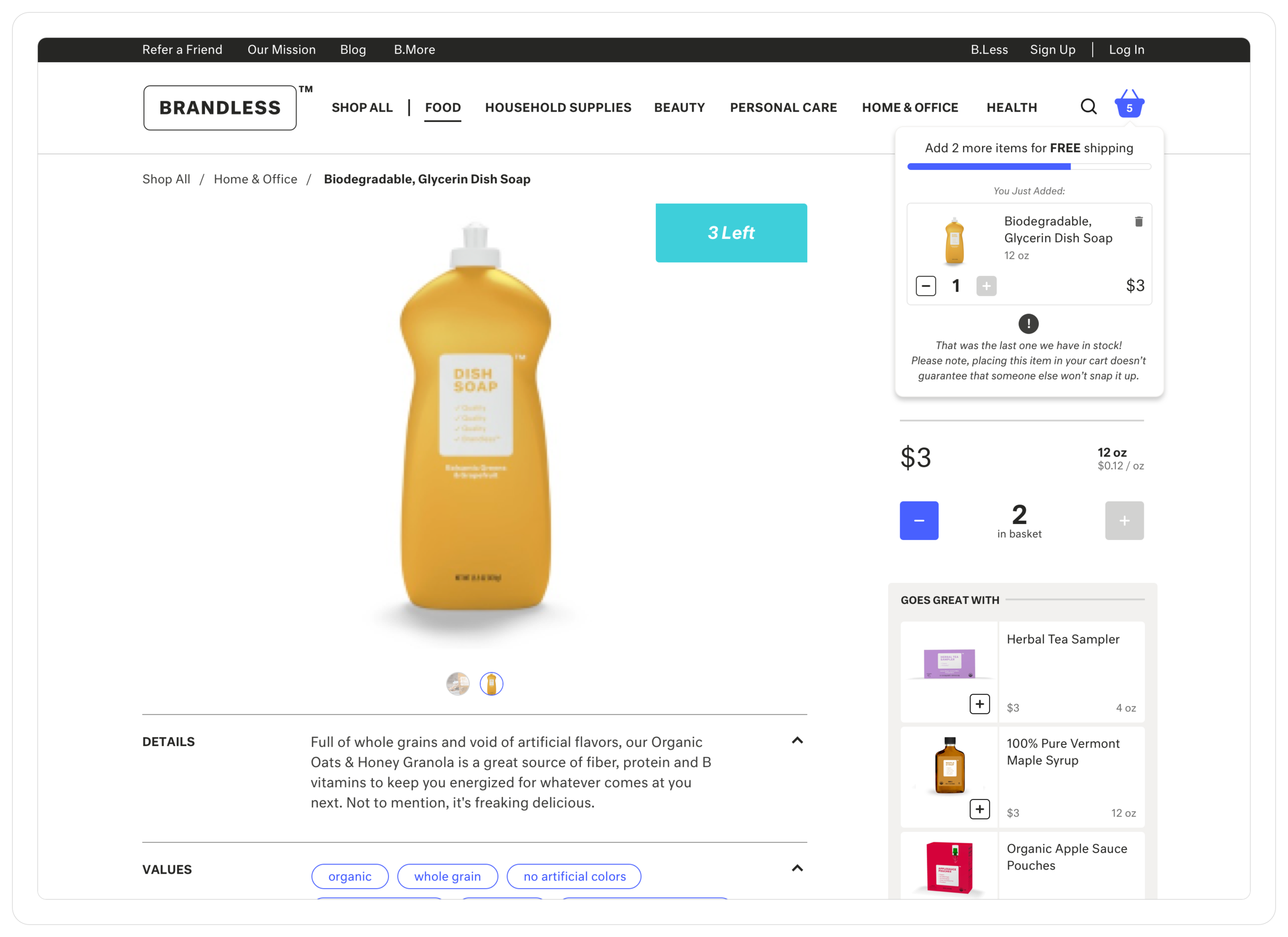 The product detail page allows users to view more details for individual products. It also reuses mobile components in the lefthand column to allow users to shop related products.