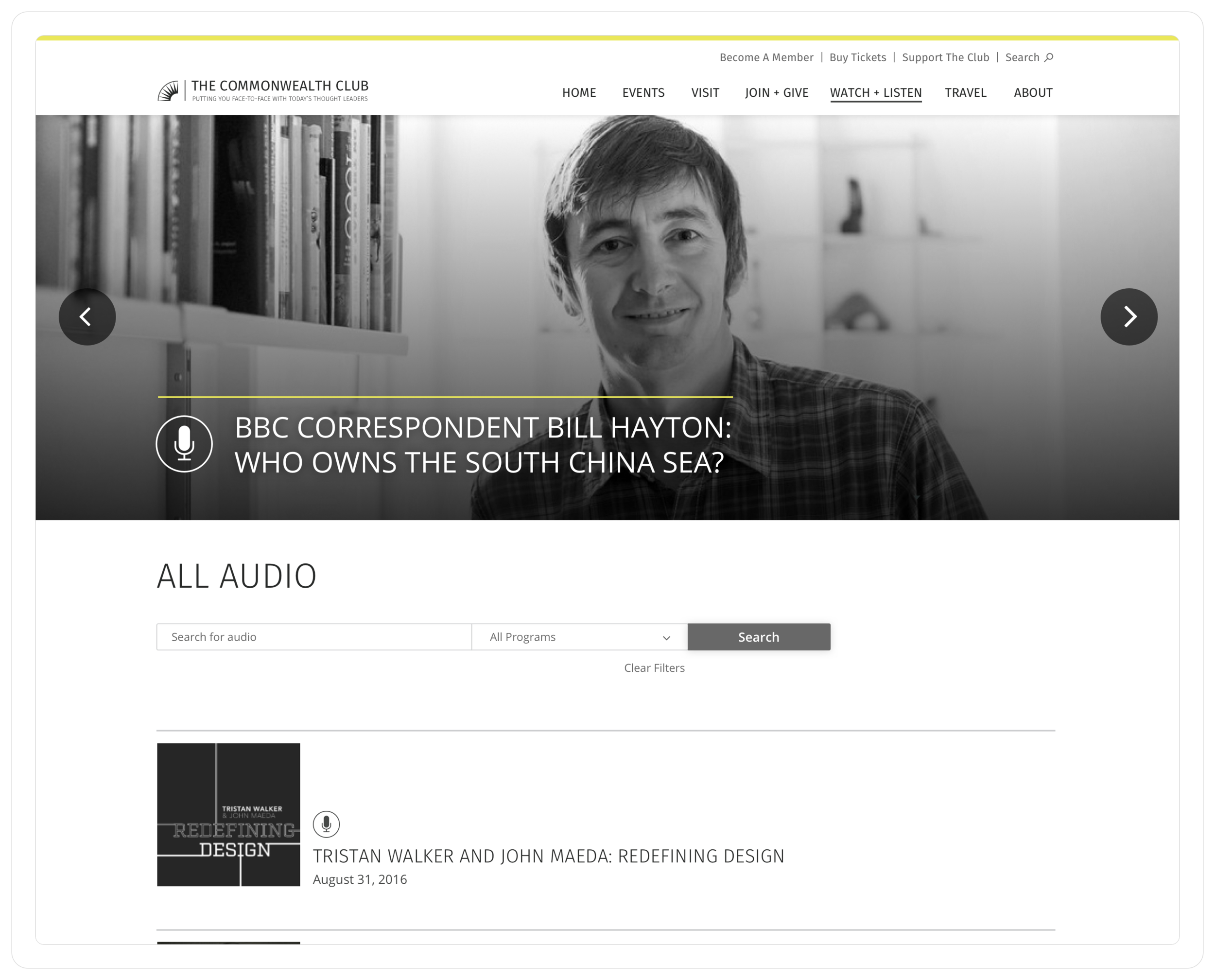 All audio recordings page