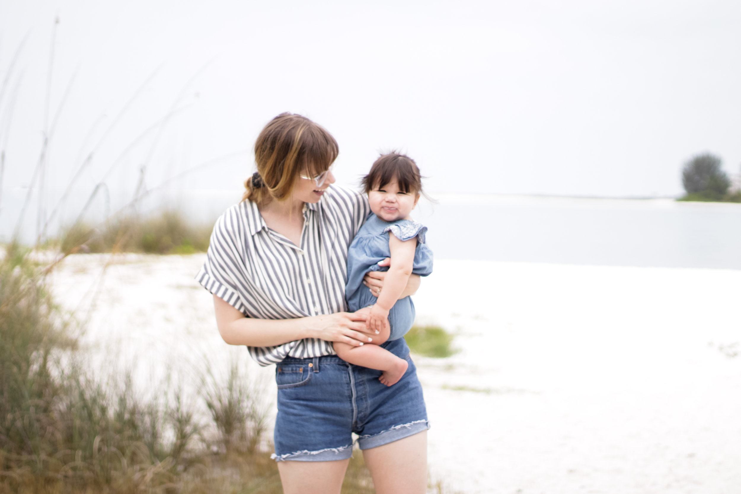 These shorts are actually a vintage/thrift find! They were straight leg Levi's and I chopped them for some summer wear. I think thrifting is another amazing way to find quality items but without the steep price tag. (Nora's face 😂 teething has been in full force over here, and for a while her tongue never left her gums, even when smiling).
