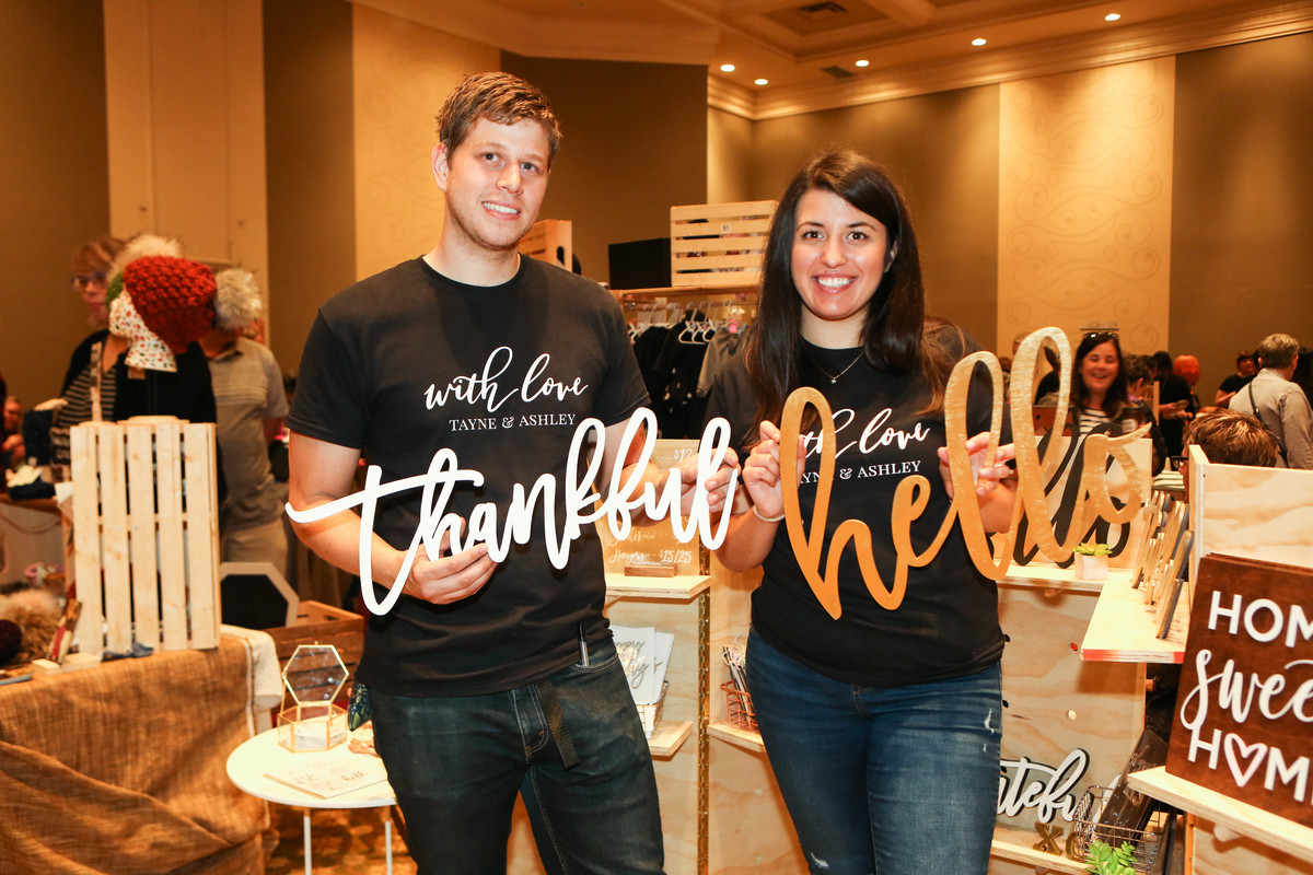 Photo by Shelly Cameron of  Snapd Hamilton  : Tayne (left) and Ashley (right) in front of their display at the Etsy MIC Hamilton event