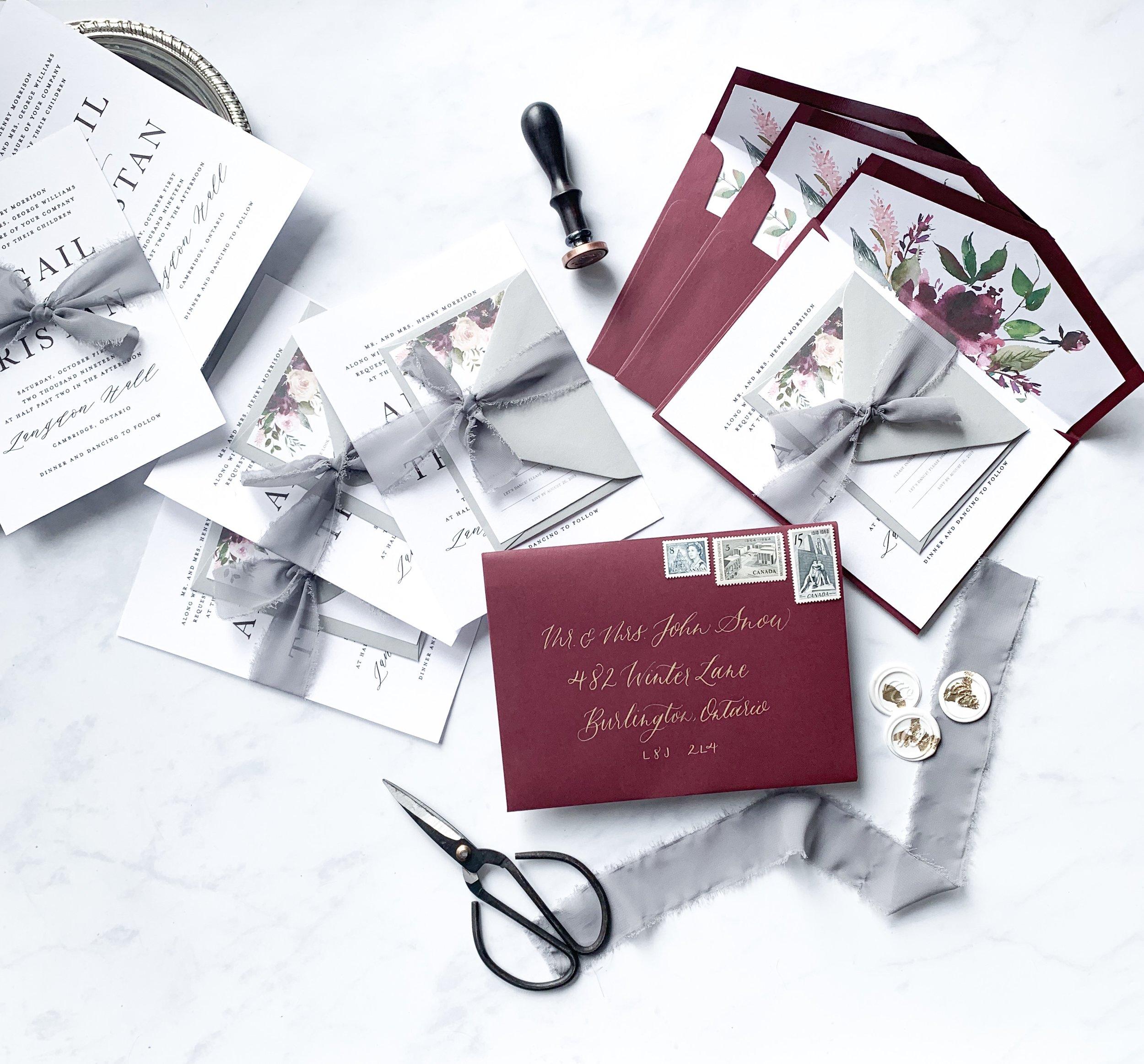 Burgundy Wedding Invitation Suite -  Tayne and Ashley