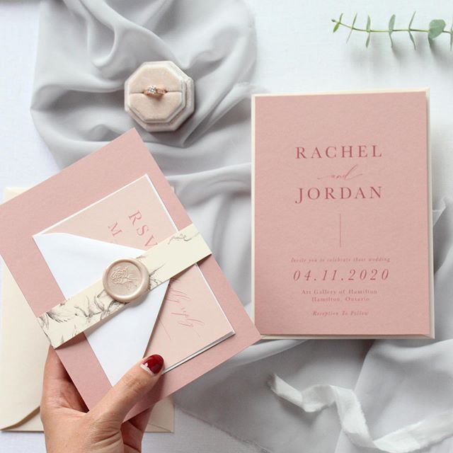 We're back! We had a great time on vacay with family in Disney World ✨ We brought a little magic back with us - full of inspiration and joy and we can't wait to share what we have been working on, including this stunning monochromatic dusty rose and blush invitation suite 💖 . . . For now though - we are off to vote for the 2019 Federal Election here in Canada 🇨🇦 and catching up on emails 💌 and marking student work 📚 . . . #OneSuiteAWeek #weddinginvitation #weddingstationery #invitation #stationery #weddinginvite #stationerysuite #calligraphy #handlettering #typography #dustyrosewedding  #waxseal #burlont #hamont #stationary #stationarysuite #engaged #bridetobe #graphicdesign