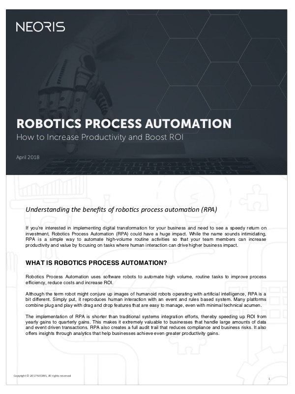Robotic Process Automation  Discover how RPA can help automate high-volume routine activities so that your teams can improve their productivity.