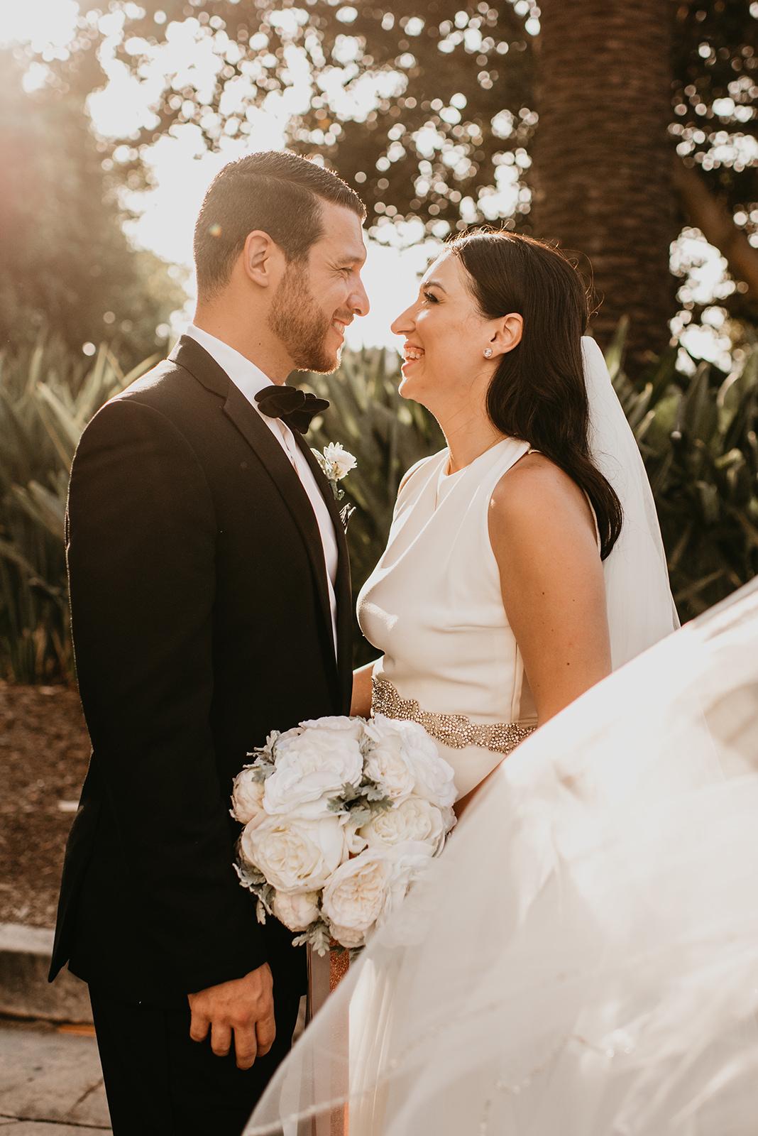 Fashion Island Wedding in California - Bride and Groom