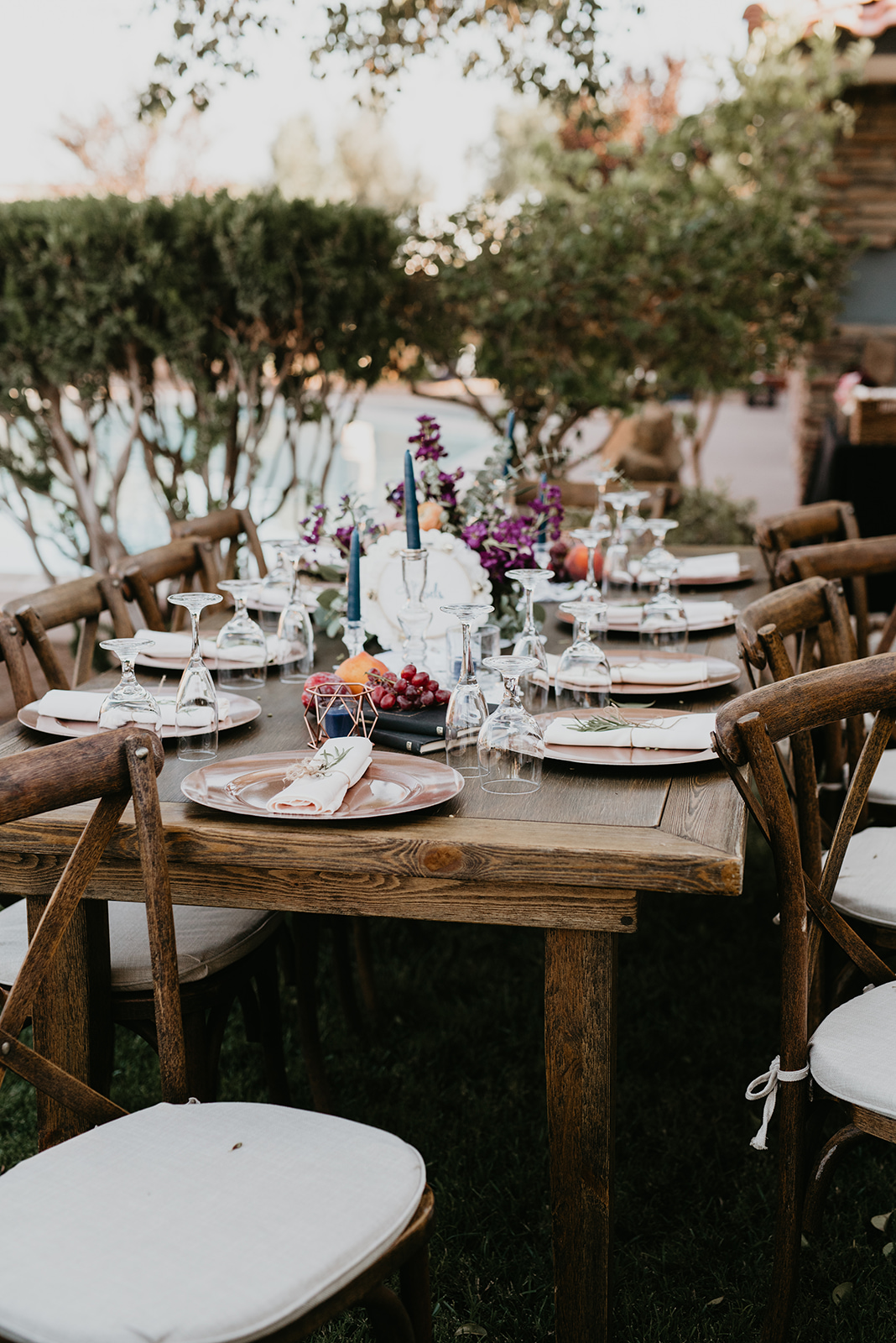 Backyard Las Vegas Wedding - Table Decor