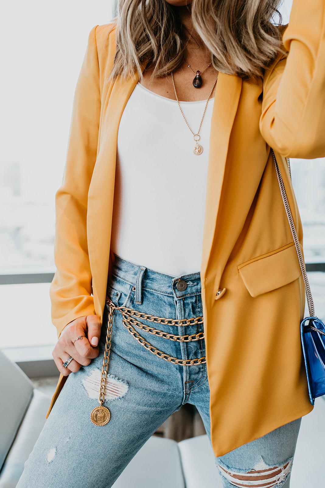 Wilson Gabrielle Branding Shoot at Palms Resort - Outfit Details, yellow blazer