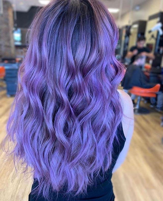 I put a spell on you 🔮 by @beckah.moxie . . . #moxiebabes #moxiebluesalon #behindthechair #goldwell #iamgoldwell #elumen #elumenplay #phillybesthair #bestofphilly #banghair #purple #purplehair #boho #hairgoals