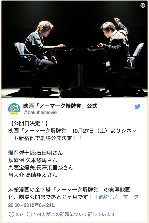 "Twitter Account: Movie ""No Mark Baku-Ha-Tou"" Official @bakuhaimovie  Release Date Finalized! Movie ""No Mark Baku-Ha-Tou"" will be released in Cinemart Shinjuku and other locations starting October 27th (Sat)  Bakuoka Danjuurou - Ishida Akira Teppeki Tamotsu - Yamoto Yuuma Chuuren Potomi - Nagasawa Marina Atari Daisuke - Takasaki Shouta  A paramount Mahjong manga ""No Mark Baku-Hai-Tou"" will be a live action film and will be released in theaters in 2 months! #live-actionNoMark 22:00 - August 24th, 2018"