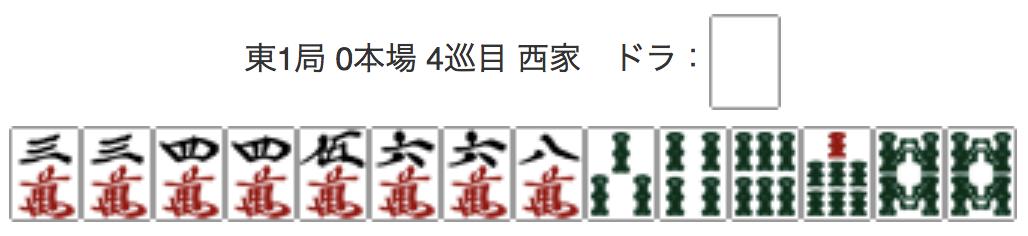East 1, 0 Honba, 4th Turn, Seat Wind: West, Dora: Haku