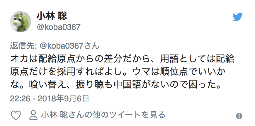 """Twitter Account:  @koba0367  """"Oka"""" is the difference from your starting points, so implementing just the starting points in regards to terminology. """"Uma"""" can be something as simple as Placement Points. It was difficult since there are no """"Kui-Kae"""" and """"Furi-Ten"""" in Chinese.  22:26 - September 6th 2018"""