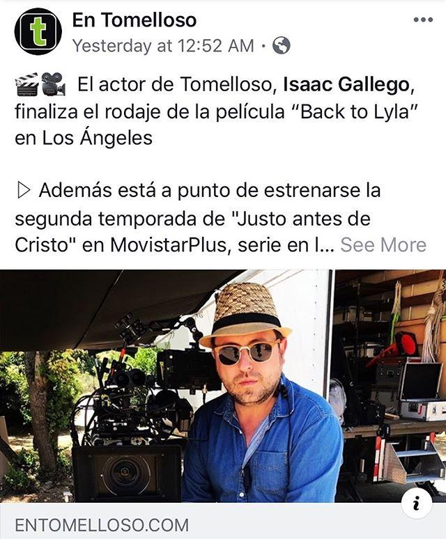 Gracias @entomelloso @jbenitol por el apoyo. 🎥🎬😎 . #entomelloso #tomelloso #article #news #film #movie #losangeles #actor #actorslife #producer #backtolyla #backtolylathemovie #backtolife #btl #lolatheshortfilm #justoantesdecristo #isaacgallego #pelotazo