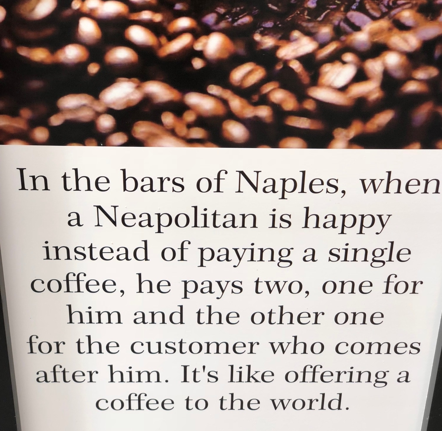 Try this next time you are in a cafe ..?