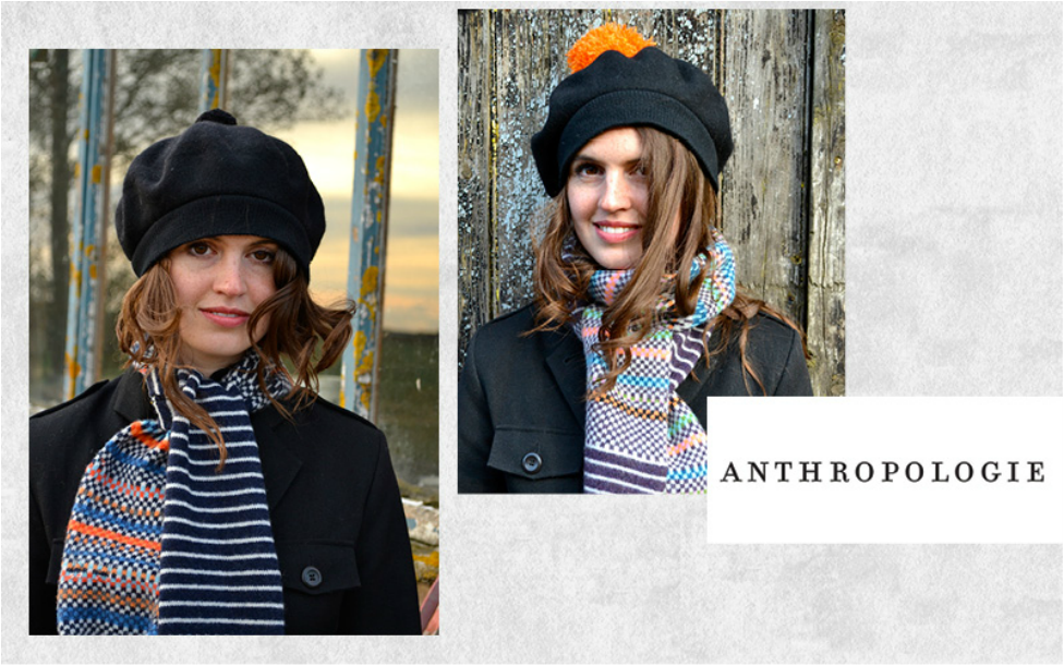 Anthropologie - Our second Anthropologie collection commissioned around our micro jacquard and stripe design with co-ordinating mittens and gloves, was produced in 3 colour ways and sold in all Stores nationwide.