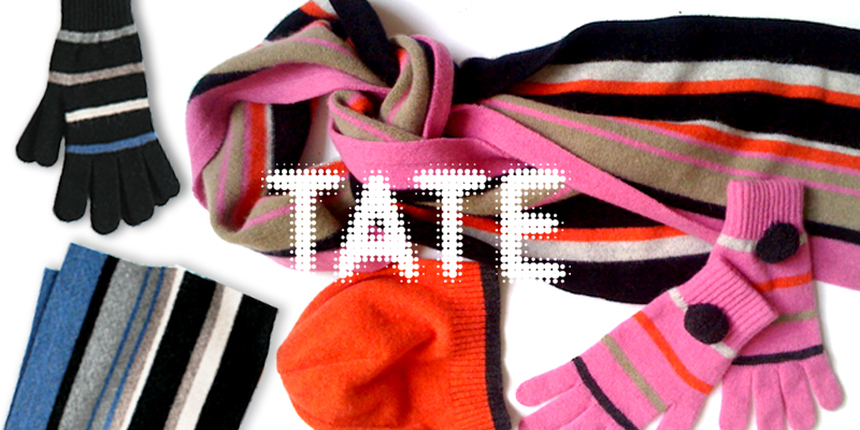 Tate Modern - Recent commissions for The Tate Enterprises, include ranges for men and women and were inspired by Gerhard Richer and British Pop Art. All products are made in the UK and contain 100% Geelong lambswool.