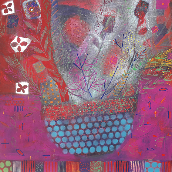 Flower Bomb i - Mixed media on birch ply - 2ft x 2ft.jpgF