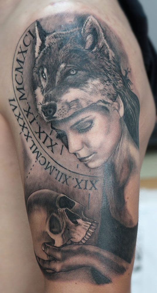This family tattoo brings calm to a man that recently lost his brother. Woman is looking deeply, without fear into Death's eyes.