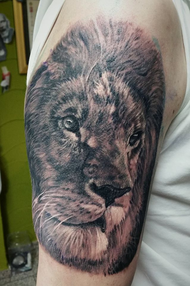 This lion tattoo was done as a part of a bigger project, and it is a starting point. It is located on upper arm for a reason to be the most important element in the whole composition.