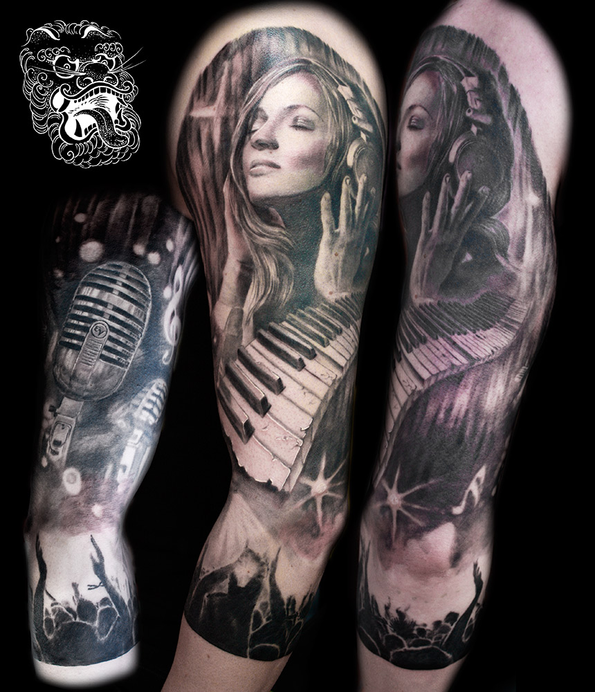 Decision to go 3/4 sleeve is usually driven by job environment. It is always wise to consider, how permanence of tattoos can influence your life. Music sleeve here, the main concern was realtion of objects and good flow.