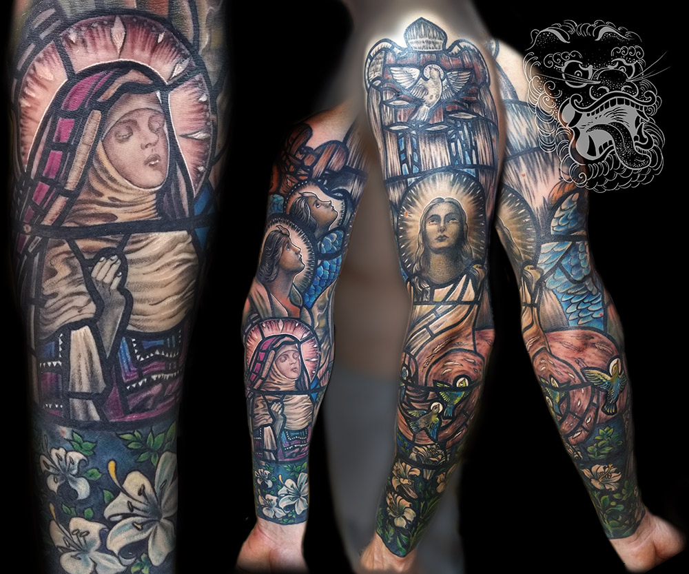 While black and gray sleeve can take anything between 30-35h, color will take significantly more to complete (average of 35-45h). Bigger coverage with ink, and more work is required. This sleeve I did, took us 10 sittings, each 4-5 hours. It is based on university chapel stainted glass.
