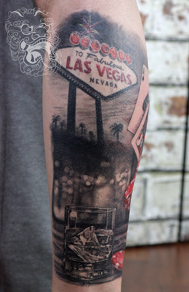 This tattoo was done in a hiper-realism way. Especially if glass and chips are considered. Usage of red leans toward trash polka tattooing.