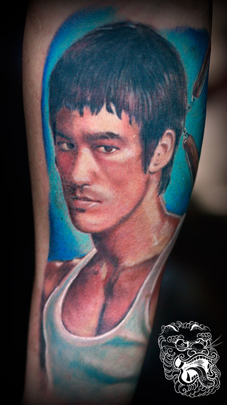 Inside a forearm is an excellent choice for portrait placement. It provides, nice flat canvas. Bruce Lee portrait.
