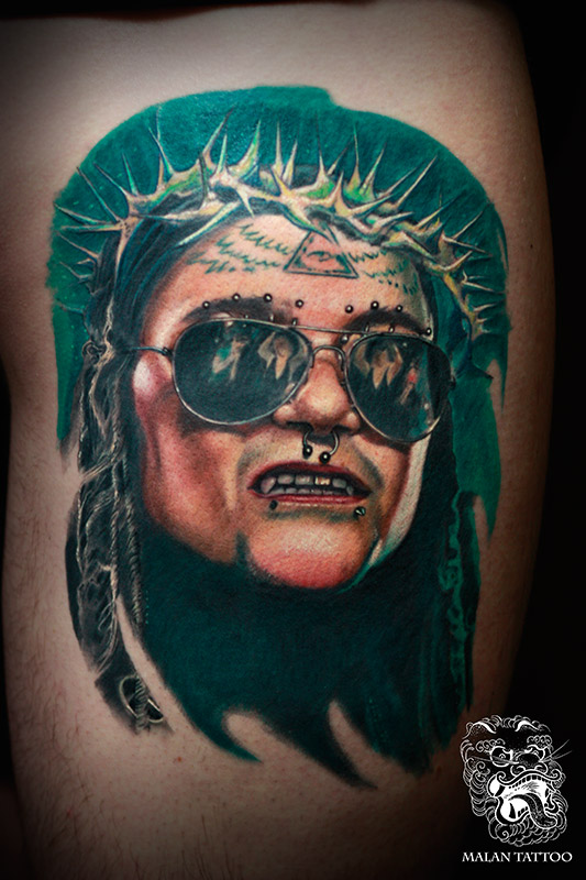 Portrait of Ministry band leader Al Jourgensen. For this tattoo, I contacted the author of the original picture directly to help us with high-quality reference.