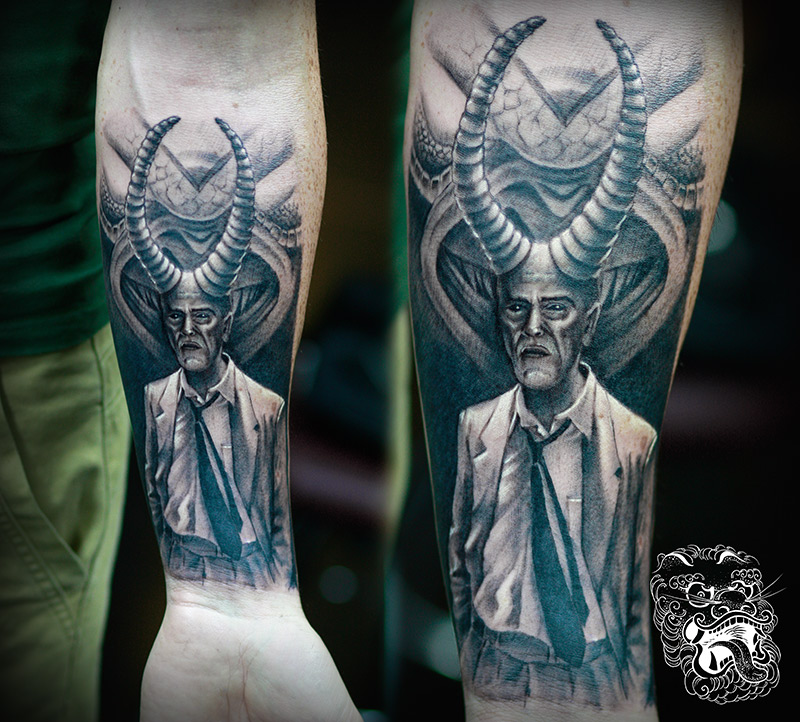 Devil in the suit. That illustration I prepared specially for my customer. The tattoo was done on the small area of the forearm. In my career, I approached this idea twice. I find this fascinating concept for a tattoo.